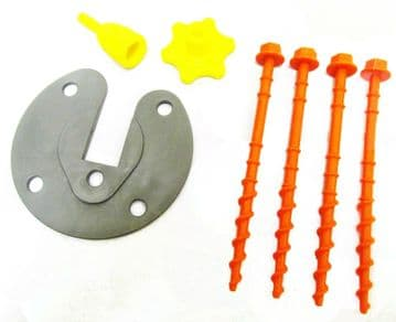 AWNING LEG FIXING PLATE KIT with SCREW IN PEGS & ADAPTORS suits caravan